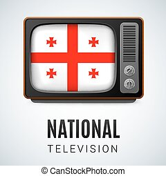 Round glossy icon of Georgia - Vintage TV and Flag of...