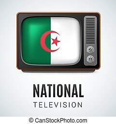 Round glossy icon of Algeria - Vintage TV and Flag of...