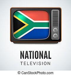 Round glossy icon of South Africa - Vintage TV and Flag of...