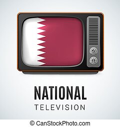 Round glossy icon of Qatar - Vintage TV and Flag of Qatar as...