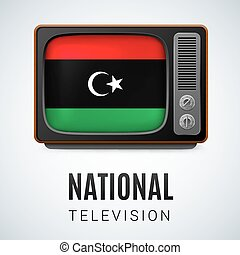 Round glossy icon of Libya - Vintage TV and Flag of Libya as...