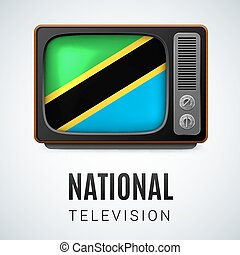 Round glossy icon of Tanzania - Vintage TV and Flag of...