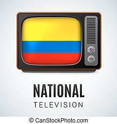 Round glossy icon of Colombia - Vintage TV and Flag of...