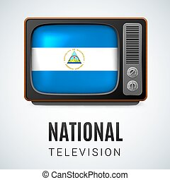 Round glossy icon of Nicaragua - Vintage TV and Flag of...