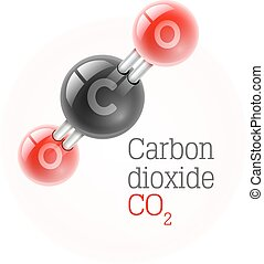 Chemical model of carbon dioxide gas molecule vector...