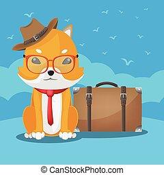 Shiba Inu Cute Dog Travel Vector