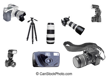 foto equipment - Th eimage of foto equipment under the white...
