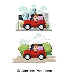 Woman Driver Red Car City Eco Vector