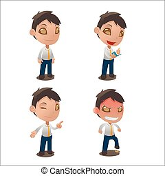 Cute Cartoon Character Collection Set Vector