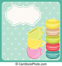 Colorful macaron cookies and teacup on blue background -...