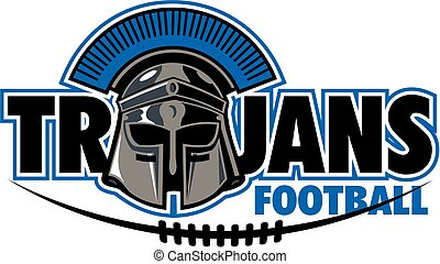 trojans football team design with helmet and laces for...