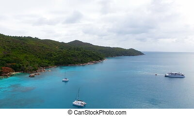 Aerial View Of Yachts In The Indian Ocean 4, Seychelles