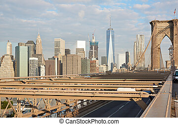 Brooklyn Bridge and New York city skyline in the morning