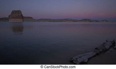 Lone Rock Beach at Sunset Calm Lake Powell Utah United...