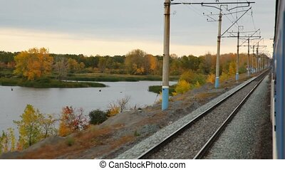 view from train: autumn forest - autumn forest and pond,...