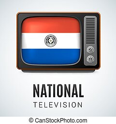 Round glossy icon of Paraguay - Vintage TV and Flag of...