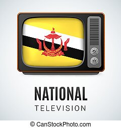 Round glossy icon of Brunei - Vintage TV and Flag of Brunei...