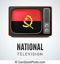 Round glossy icon of Angola - Vintage TV and Flag of Angola...