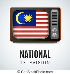Round glossy icon of Malaysia - Vintage TV and Flag of...