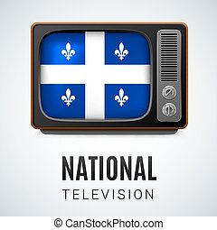 Round glossy icon of Quebec - Vintage TV and Flag of Quebec...