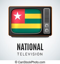 Round glossy icon of Togo - Vintage TV and Flag of Togo as...