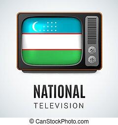 Flag_circ_icon_02 - Vintage TV and Flag of Uzbekistan as...