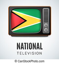 Round glossy icon of Guyana - Vintage TV and Flag of Guyana...