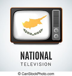 Round glossy icon of Cyprus - Vintage TV and Flag of Cyprus...