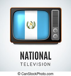 Round glossy icon of Guatemala - Vintage TV and Flag of...