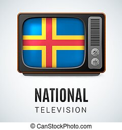 Round glossy icon of Aland Islands - Vintage TV and Flag of...
