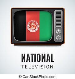 Round glossy icon of Afghanistan - Vintage TV and Flag of...