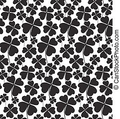 Clover black and white seamless pattern. Vector...