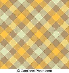 Yellow beige diagonal checkered plaid seamless pattern