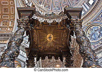 Detail of Bernini's baroque baldachin in St Peter's Basilica...