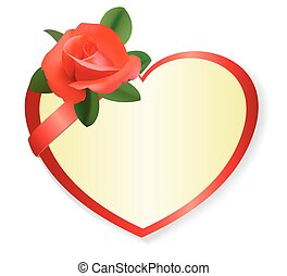 vector red heart with rose and shadow