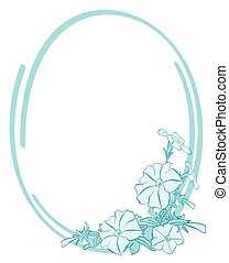 vector blue oval frame with flowers