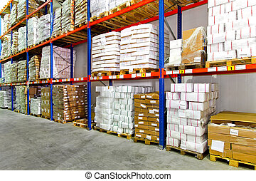 Boxes warehouse - Boxes with frozen food at shelf in...