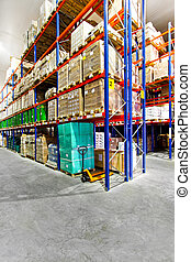 Warehouse rack - Rack with goods in big industrial warehouse...