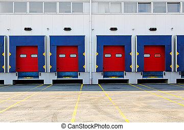 Loading dock - Many loading dock doors at big warehouse