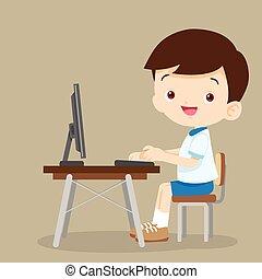 lindo, computadora, Estudiante, trabajando, niño