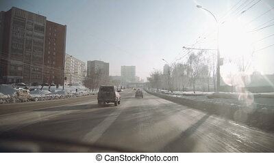 Snow blizzard urban city. Winter snow and extreme cold...