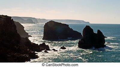 Rocky Coast At Praia Da Zimbreirinha, Algarve, Portugal