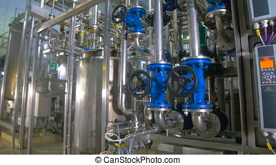 Modern technological industrial equipment. Pipelines, pumps,...