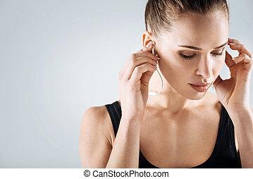entrenamiento, mujer, después, encantado, Música, Escuchar