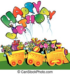 Birthday train. - Happy birthday train carrying presents....