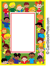 Kids frame. - Glad kids frame. Place for sample text. Happy...