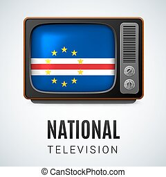 Round glossy icon of Cape Verde - Vintage TV and Flag of...