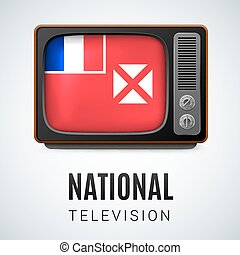 Round glossy icon of Wallis and Futuna - Vintage TV and Flag...
