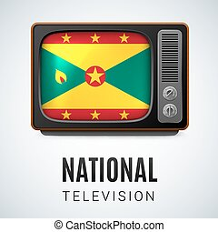 Round glossy icon of Grenada - Vintage TV and Flag of...