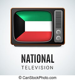 Round glossy icon of Kuwait - Vintage TV and Flag of Kuwait...